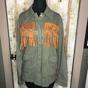 New Zara Outerwear Fringe Studded Army Jacket